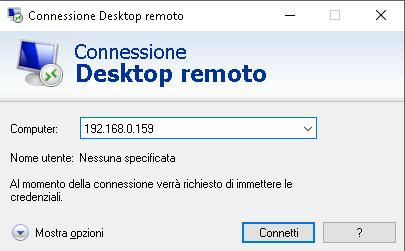 Accesso Remote Desktop (rdp) da Windows al Raspberry Pi